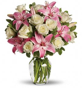 Vase with 5 Stems of Pink Lilies & 12 Stems of White White Roses With Greens